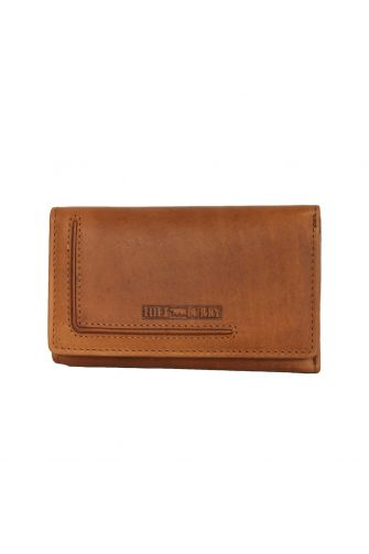 Hill Burry women's leather tri fold wallet brown