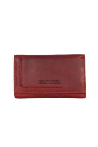 Hill Burry women's leather tri fold wallet red
