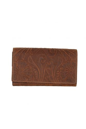Hill Burry women's embossed leather flap wallet brown