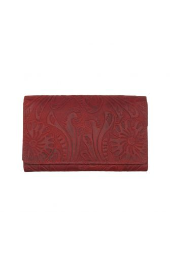 Hill Burry women's embossed leather flap wallet red