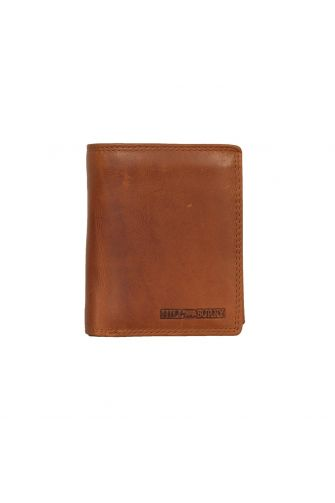 Hill Burry men's leather vertical wallet brown - RFID