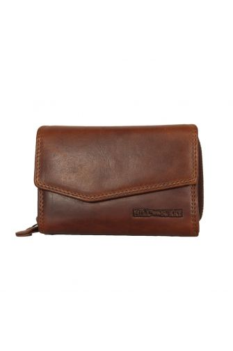 Hill Burry women's leather wallet with asymmetrical flap