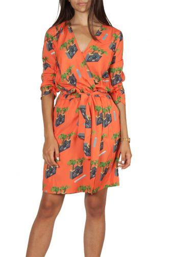 Migle + me radio print κρουαζέ φόρεμα πορτοκαλί