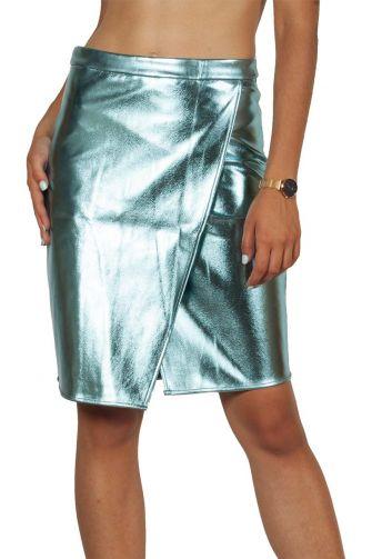Migle + me faux-leather party skirt light mint