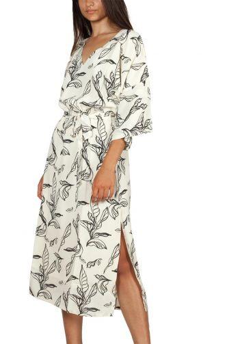 Minimum Alpina μίντι φόρεμα κρεμ με σκίσιμο
