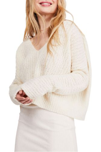 Free People Moonbeam V-neck jumper ivory