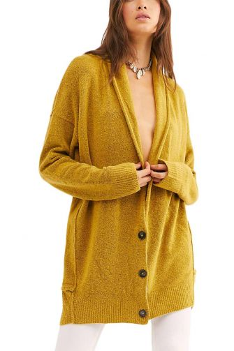 Free People Eucalyptus cardigan heather mustard