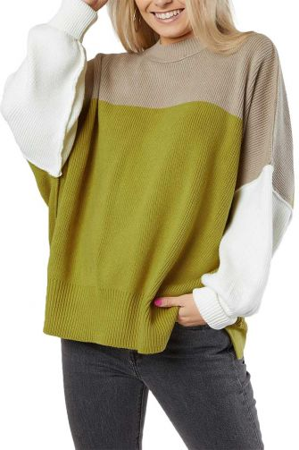Free People Easy street color block oversized sweater