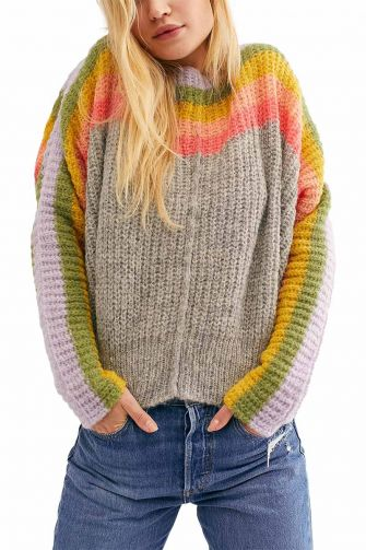 Free People Rainbow oversized sweater