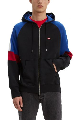 Levi's® Pieced zip hoodie moto stripe black