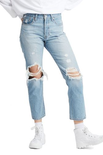 Levi's 501® cropped ripped jeans montgomery patched