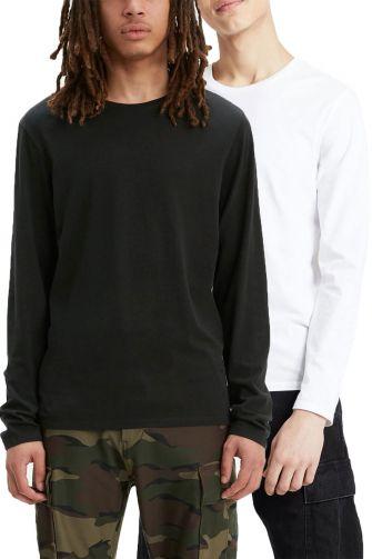 Levi's® Long sleeve slim fit crew neck tee 2-pack black/white