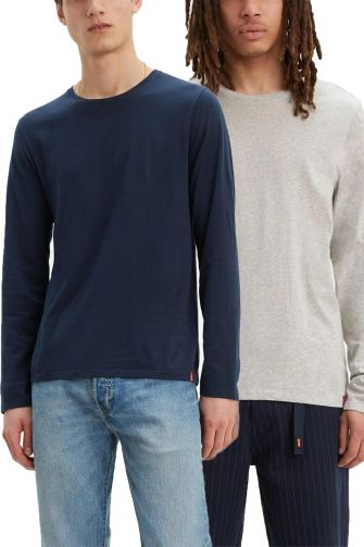 Levi's® Long sleeve slim fit crew neck tee 2-pack blue/heather grey