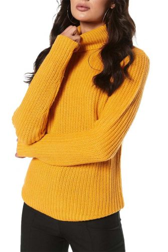 Rut & Circle Tinelle roll neck knit sweater yellow