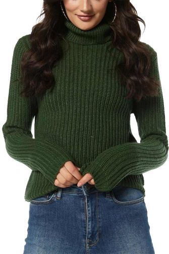 Rut & Circle Tinelle roll neck knit sweater dark green