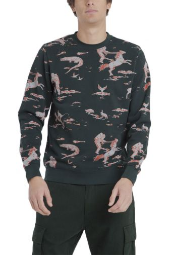 Thinking Mu space Rider organic cotton sweatshirt darkest spruce