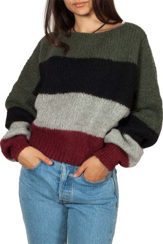 Thinking Mu cropped sweater multi stripe
