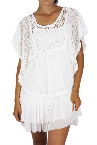 Maggie sweet Talavera strappy dress with croched top in white