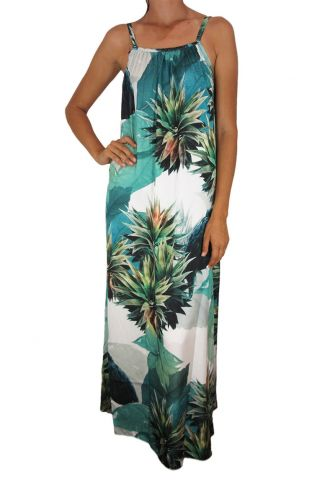 Tag women's backless maxi dress Anais with tropical print
