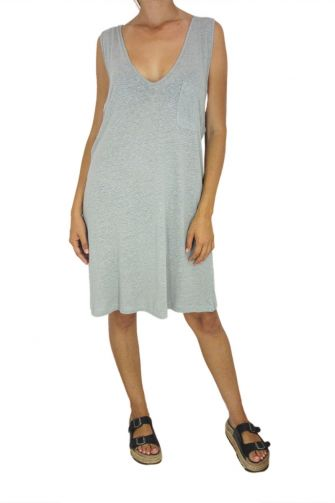 Tag women's sleeveless dress Bibi gray-green with chest pocket