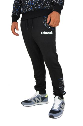 Cabaneli sweatpants in black with blue snow print pockets