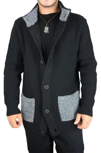 Combos men's knit cardigan black with pockets
