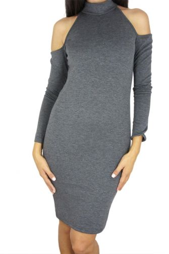 Tag Franca long sleeved cut-out shoulder dress in grey