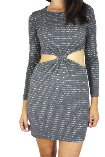 Tag Alexa long sleeved cut-out dress charcoal