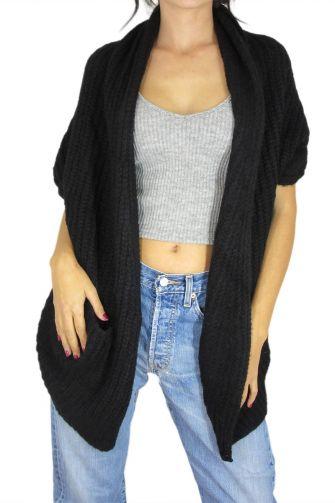 Agel Knitwear πλεκτή ζακέτα μαύρη με αραιή πλέξη