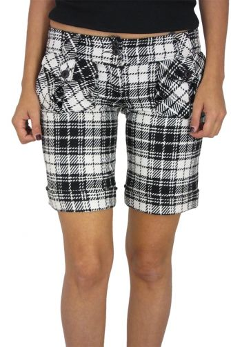 Black & white checked wool shorts