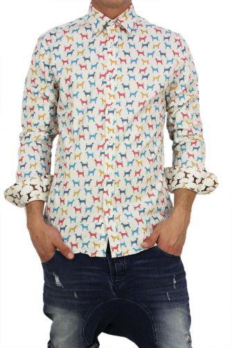 Missone men's shirt with multi dogs print