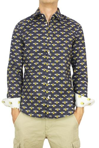 Missone men's navy shirt with bees print