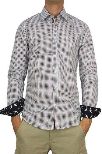Missone men's shirt white with blue polka