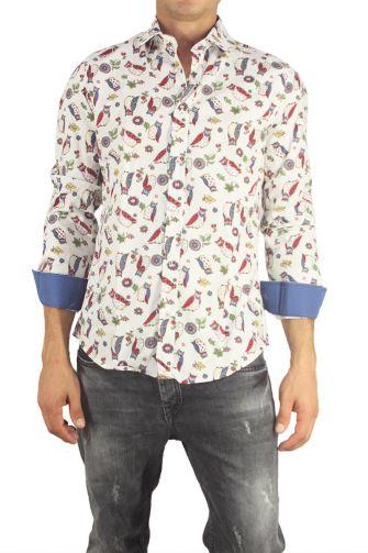 Missone men's shirt white with owls print