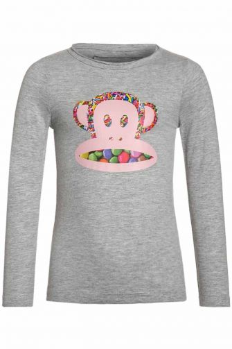 Paul Frank Candy face kids long sleeve tee girls grey melange