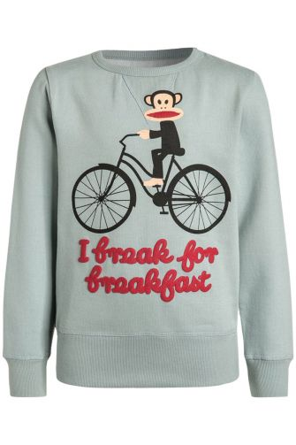 Paul Frank Breakfast kids sweatshirt boys grey green