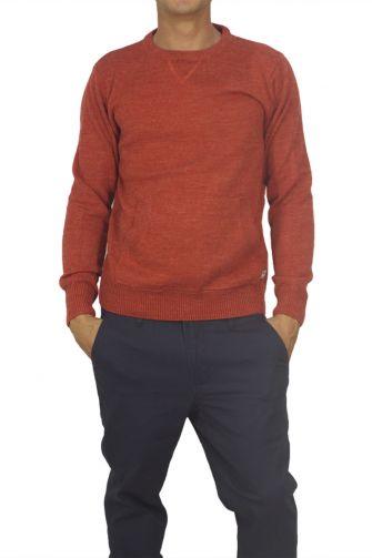Superior Vintage ανδρικό πουλόβερ κεραμιδί με τσέπη