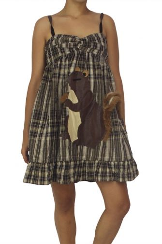 Fabric Art checkered strap dress with applique squirrel