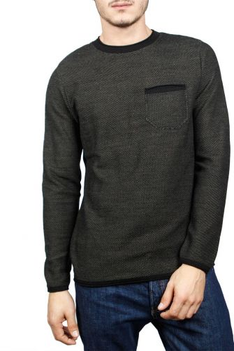 3PLAY men's sweater marl black-khaki