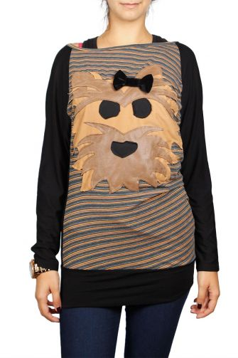 Fabric Art long sleeve top with applique