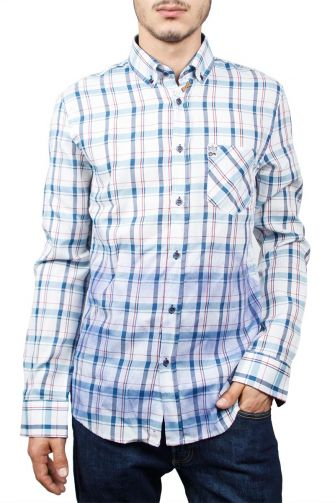 Missone men's check shirt white-blue