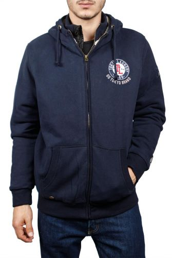 Tokyo Laundry Bow zip through lined hoodie blue