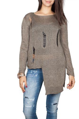 Agel Knitwear πλεκτή μπλούζα πούρο χρώμα με σκισίματα