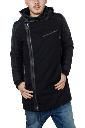 Men's felt parka black with fake-leather details