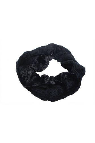Knit snood black with faux-fur