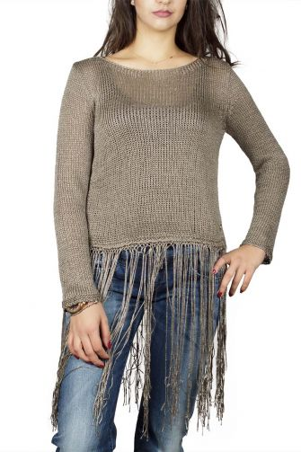 Agel Knitwear crop knitted sweater with fringe in tobacco