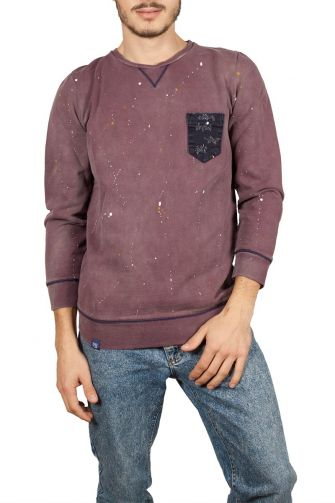 Splashes sweatshirt bordeaux with pocket