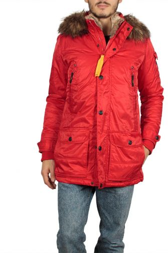Men's hooded parka red