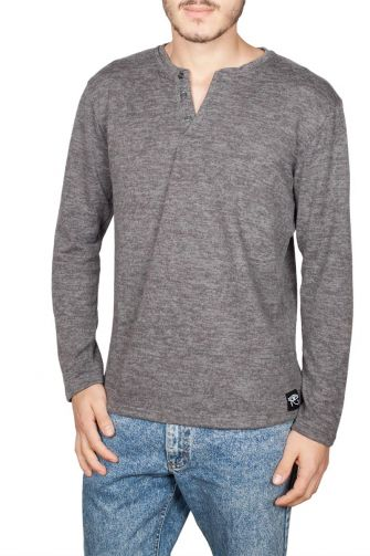 Oyet long sleeve Tee dark grey melange