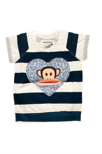 Paul Frank striped T-shirt ecru-navy for girl